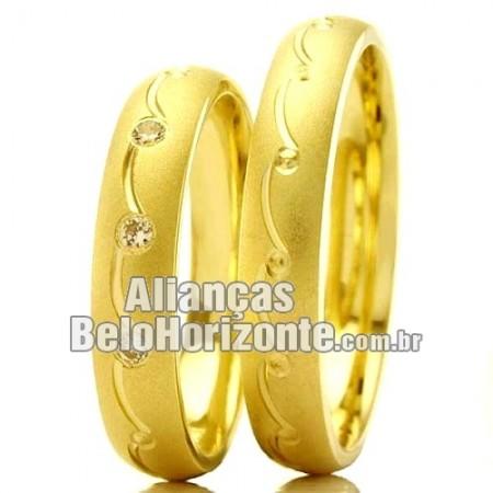 Aliança de ouro casamento e noivado barata Bh