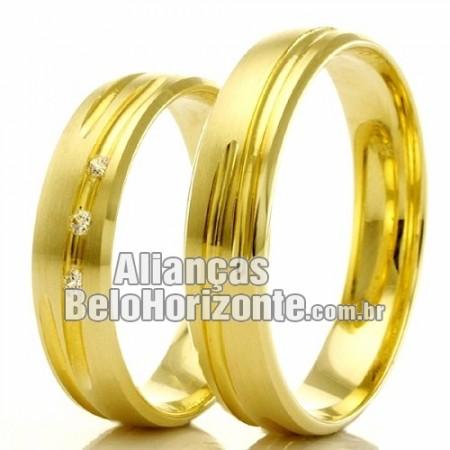 Alianças em ouro 18k noivado e casamento Bh
