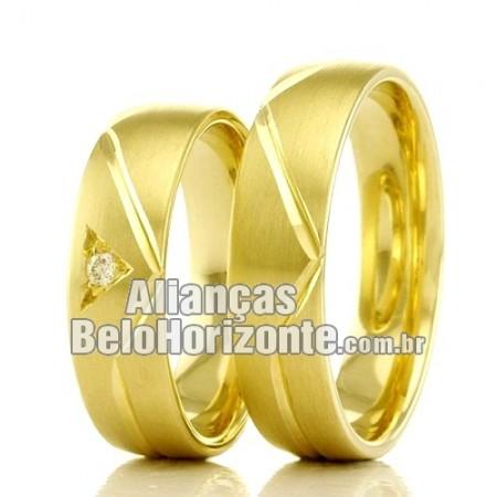 Aliança  Bh em ouro 18k